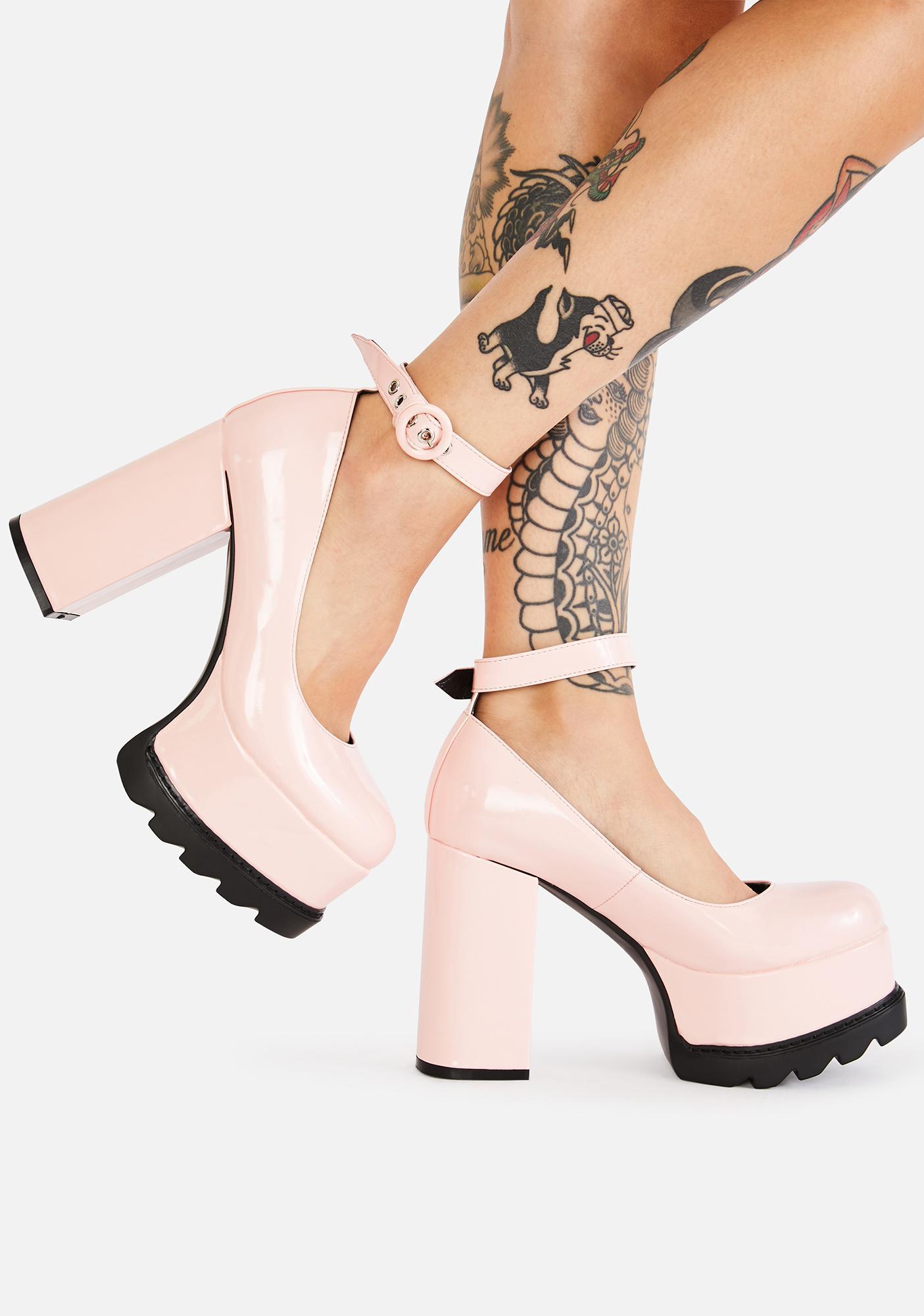 Lamoda Pink Evil Attraction Platform Mary Janes