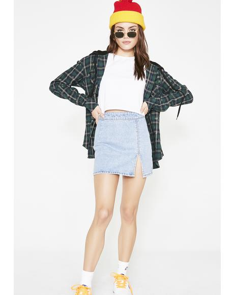 Double Tapped Denim Skirt