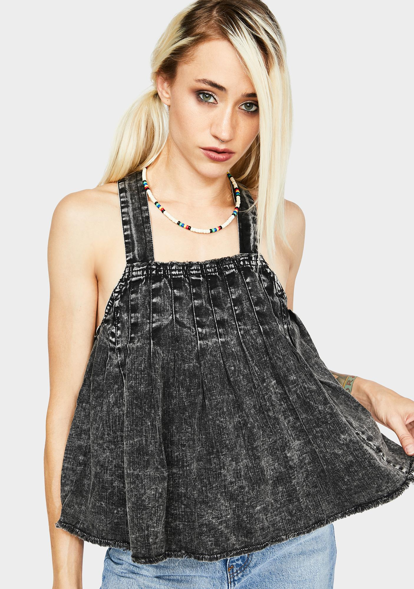 Free People Marina Denim Babydoll Top