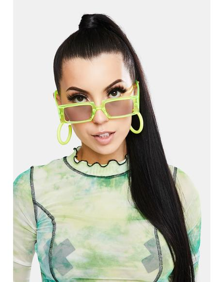 Lemon Straight To Business Rectangle Sunglasses