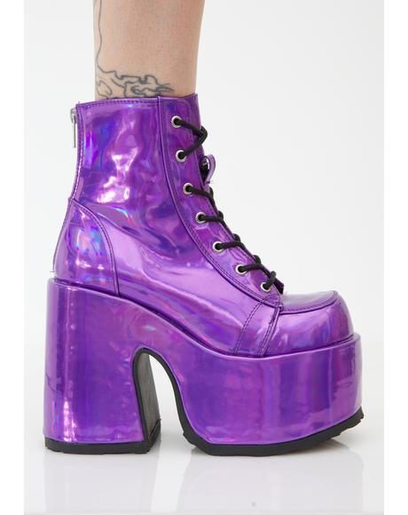 Rave Royalty Holographic Platform Boots