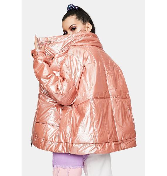 ZEMETA Pink Pearl Puffer Jacket