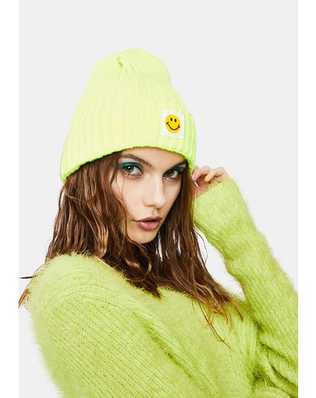 Neon Happiness Ribbed Beanie