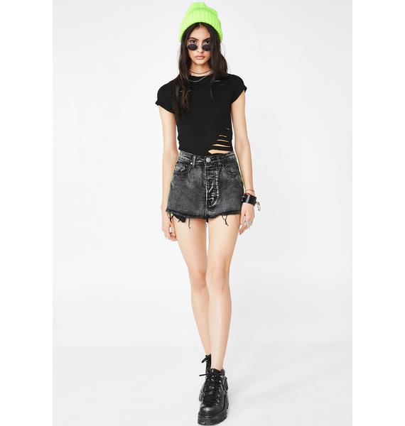 Past Curfew Denim Skirt