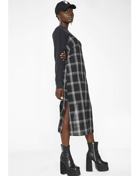 Raven Honeytrap Plaid Midi Dress