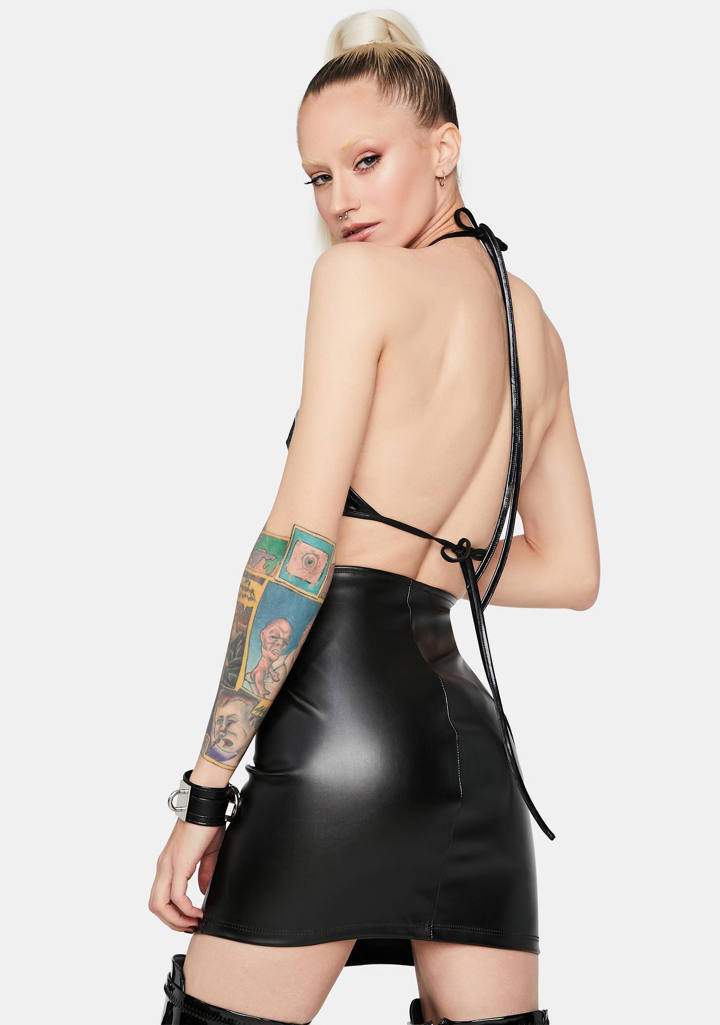 Baddie Mindset Cutout Vegan Leather Skirt