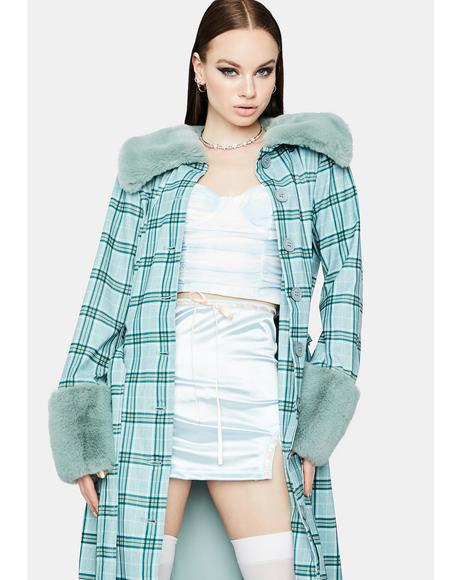 Teal Love Goes On Plaid Coat