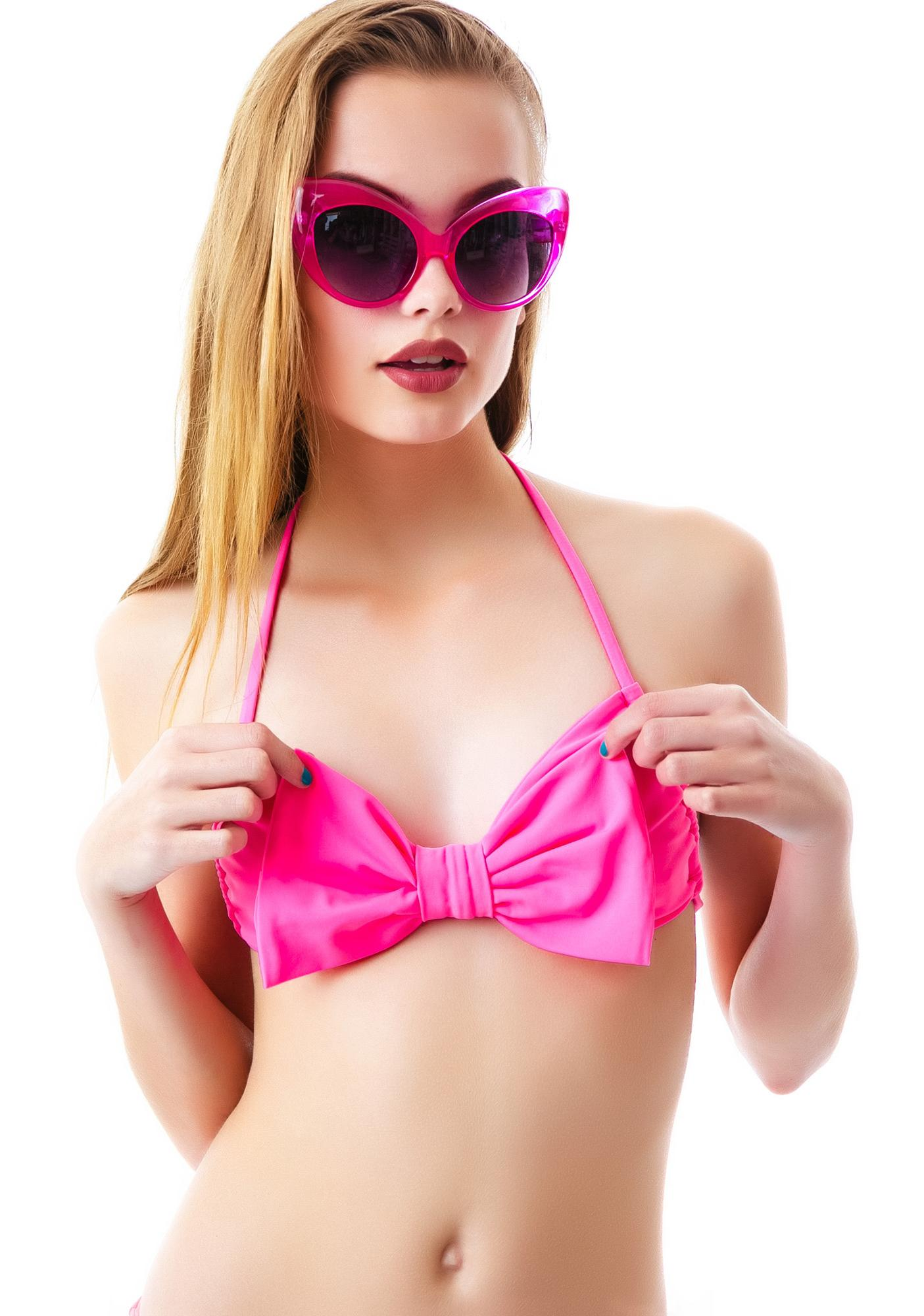 Lolli Swim Winner Bow Bandeau Halter Top