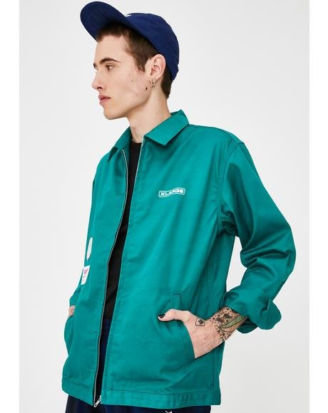 Patched Green Work Jacket