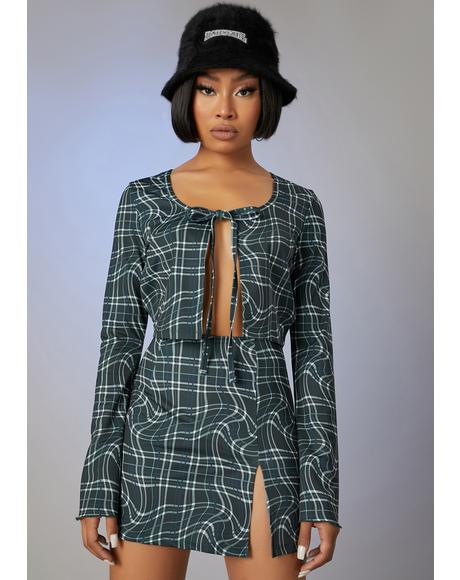 Never The Same Plaid Skirt Set