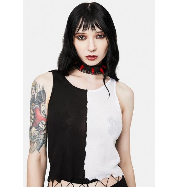 Funk Plus Sheer Ruffle Choker With Red Spikes
