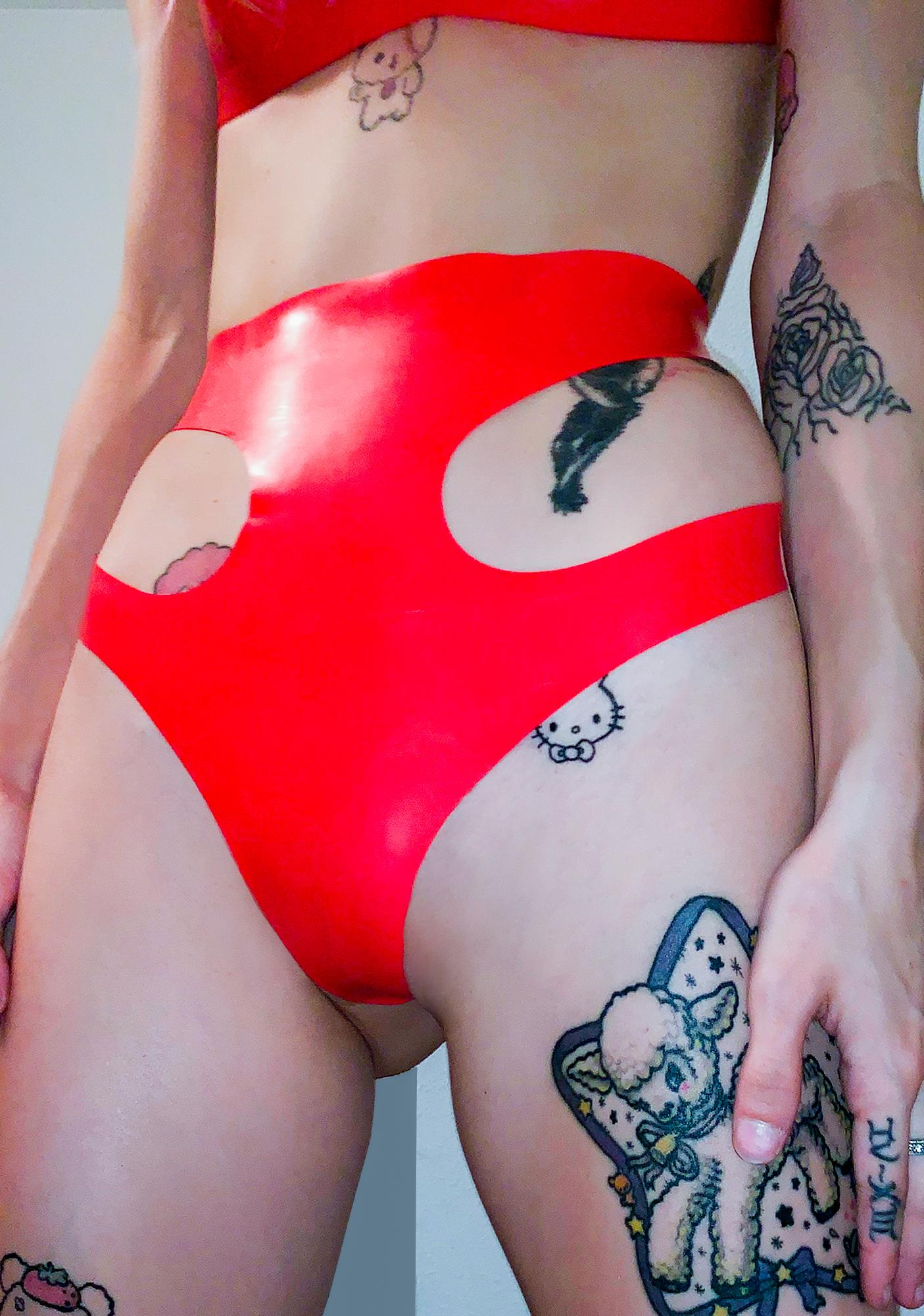 Elissa Poppy Scarlet Latex Cut Out Thong