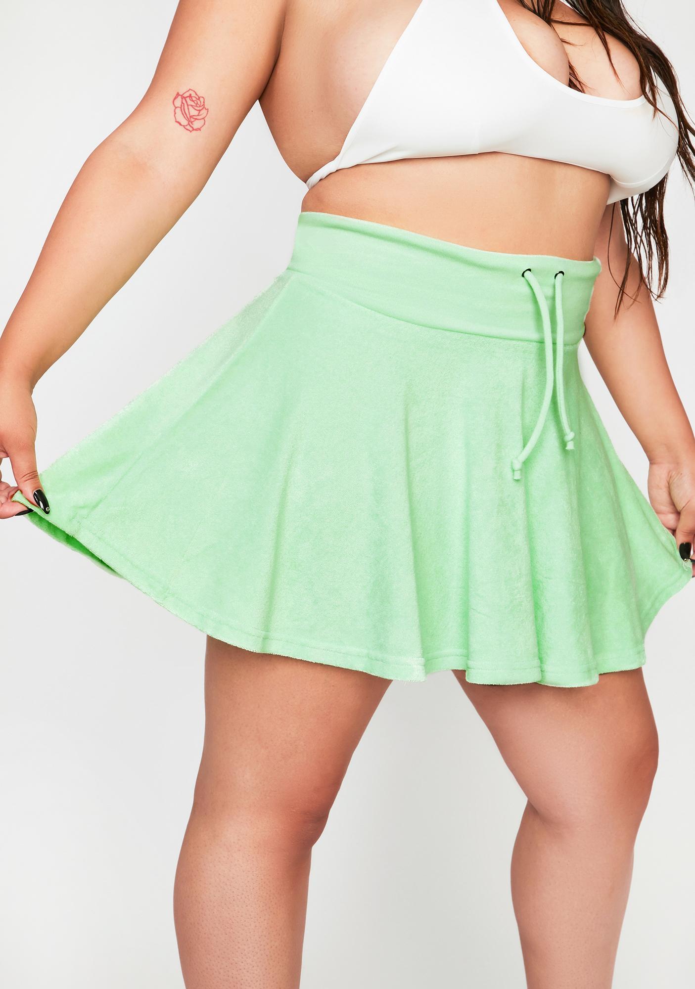 Green I'm Not Ur School Grl Mini Skirt