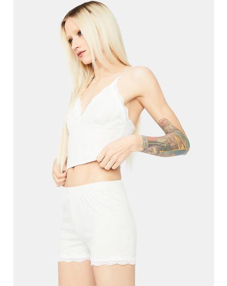 Kiss Me Softly Lace Trim Shorts Set
