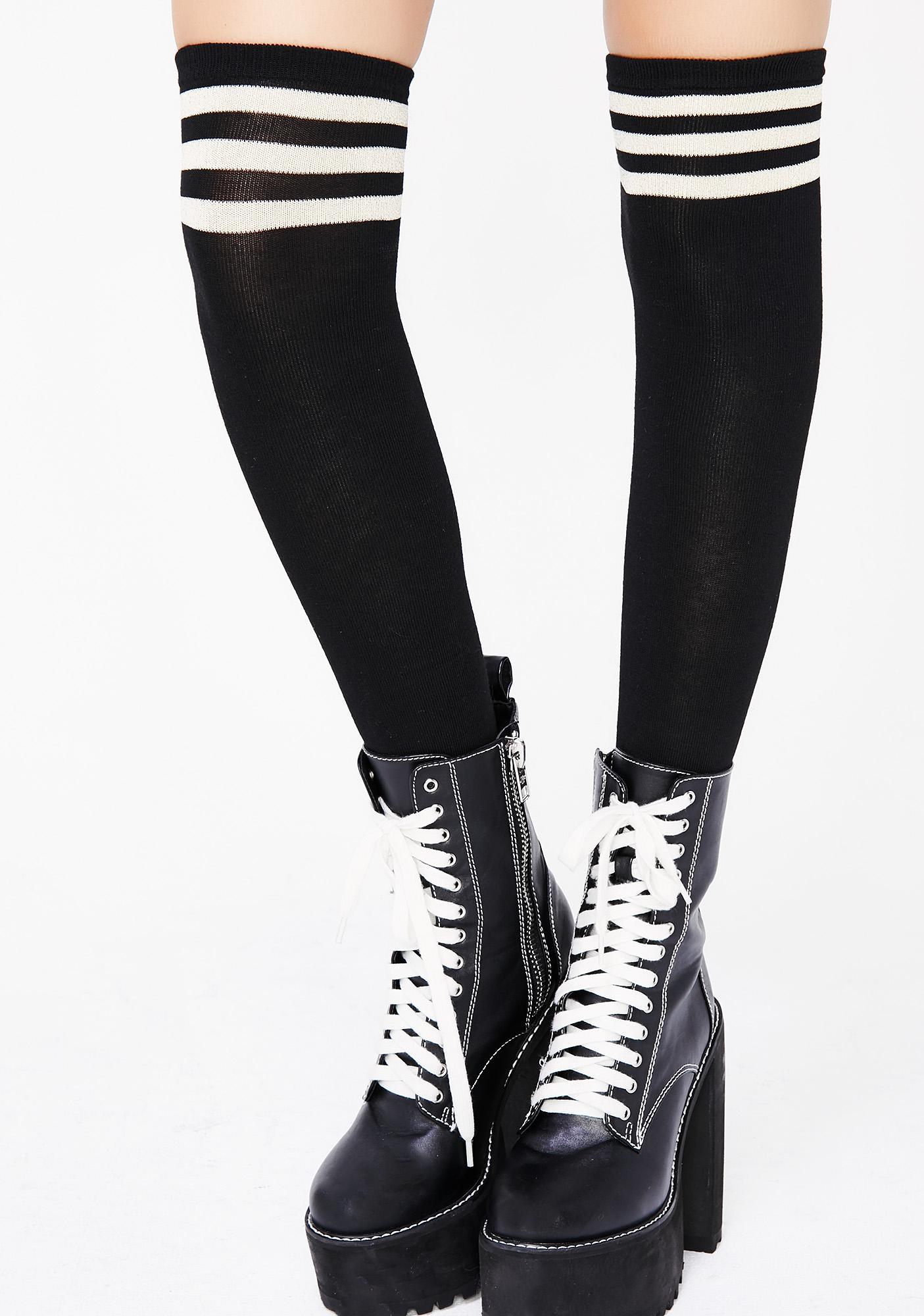 fa9ee4c56 Athletic Stripe Thigh High Black Socks | Dolls Kill