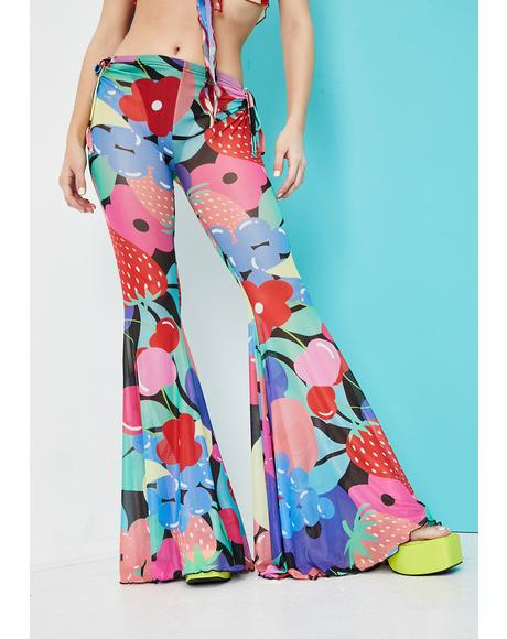Squeeze The Day Fruit Print Mesh Flares