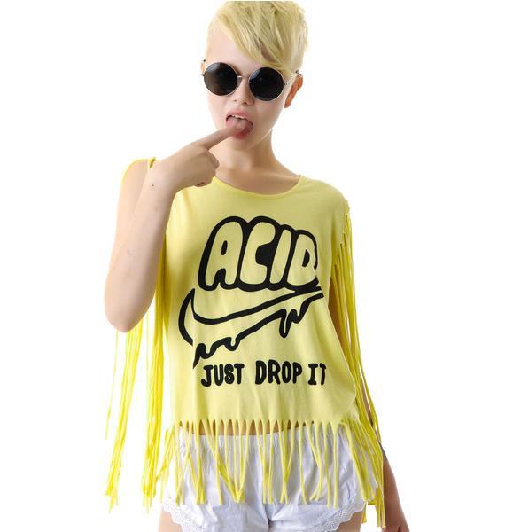 United Couture Drop Acid Long Fringe Tee