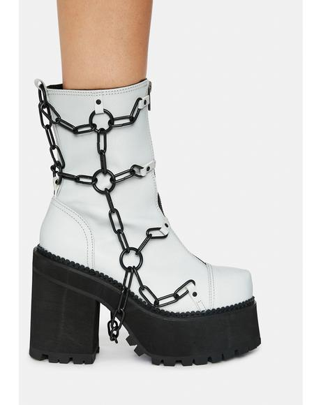 Gray Rattle My Chains Platform Boots