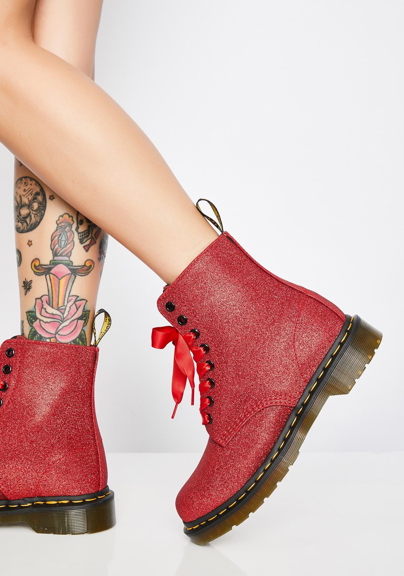 87243802e7d6 Dr. Martens 1460 Pascal Red Glitter Boots | Dolls Kill
