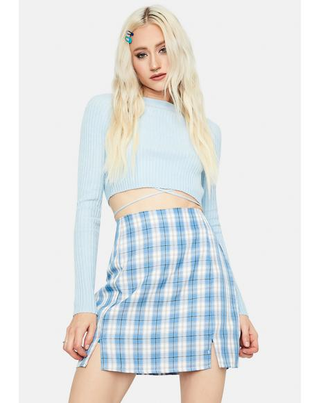 Aqua Playful in Plaid Mini Skirt