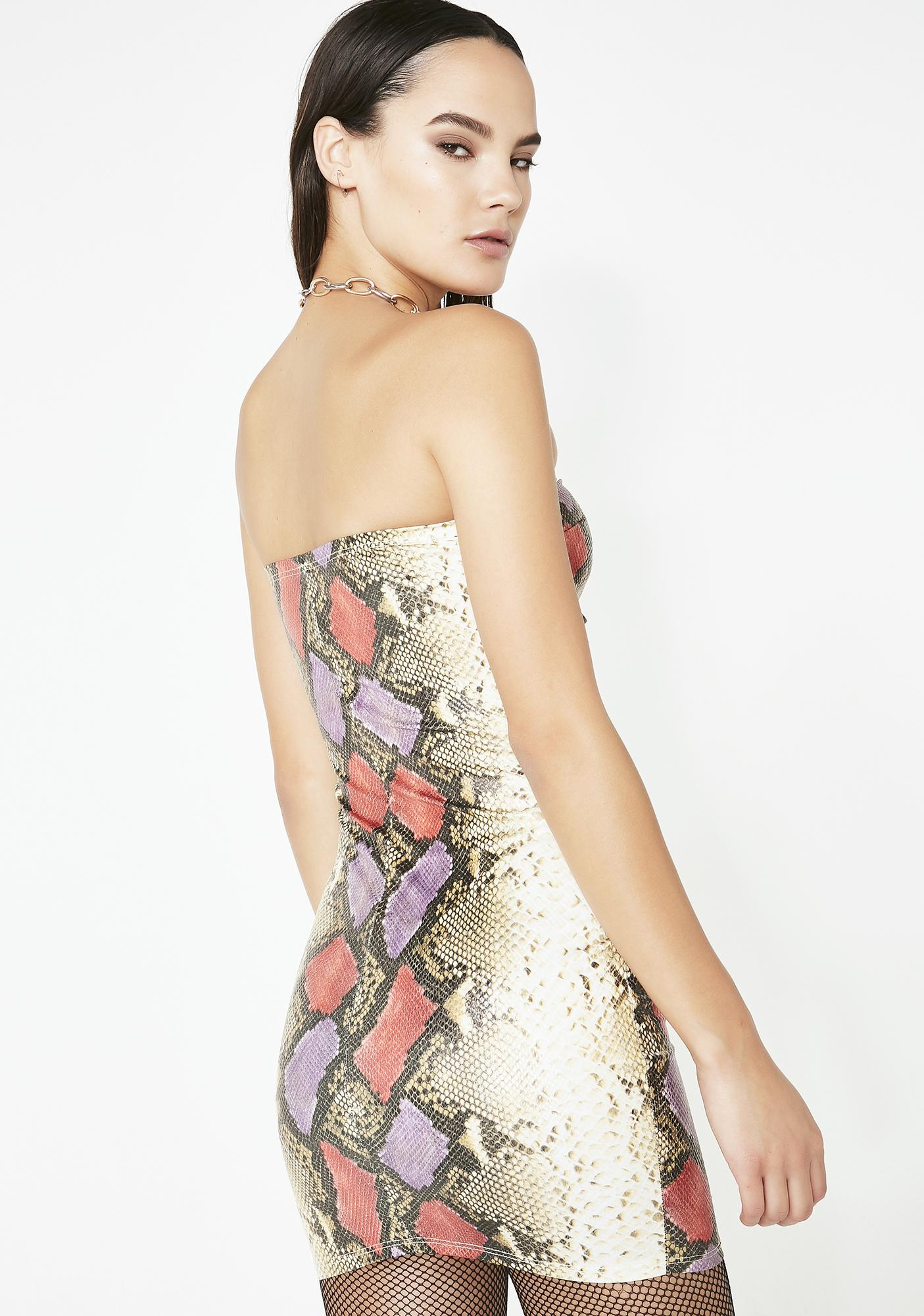 Letz Get Lost Snakeskin Dress