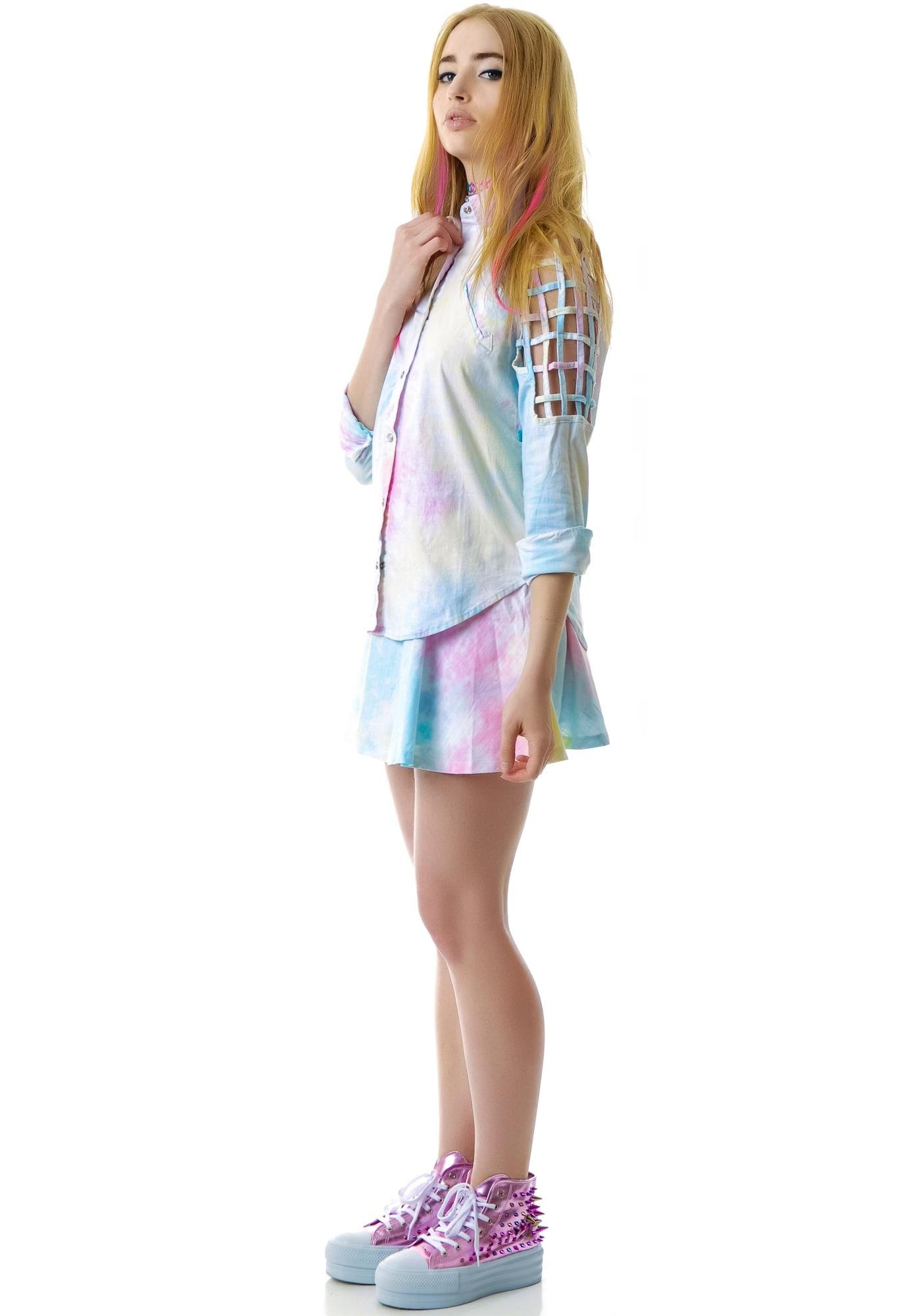 Rainbow Sherbet Caged Long Sleeve Blouse
