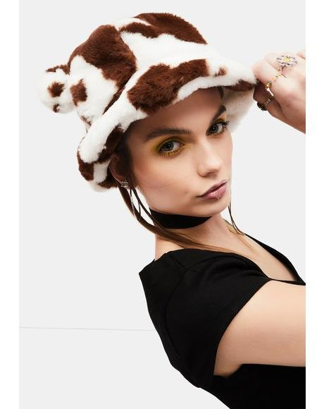 Animal Lover Cow Faux Fur Bucket Hat