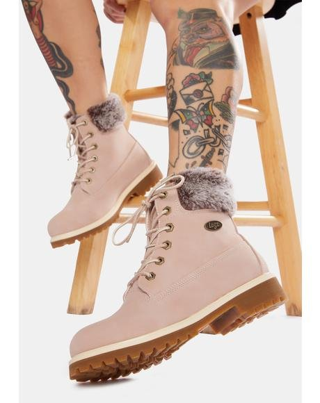 Soft Pink Convoy Faux Fur 6 Inch Boots