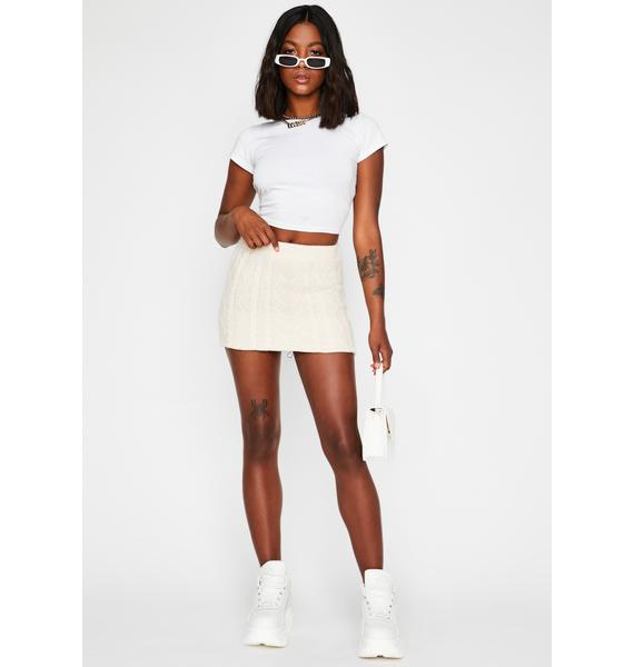 Cream Knit-Picky Mini Skirt