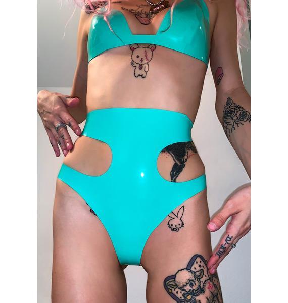 Elissa Poppy Jade Green Latex Cut Out Thong