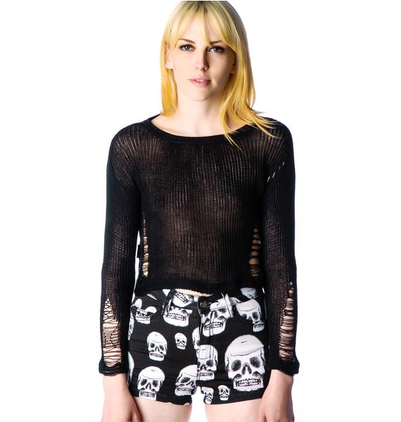 Wicked Web Destroyed Knit Sweater