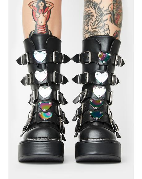 Matte Dark Heartbreaker Buckle Boots