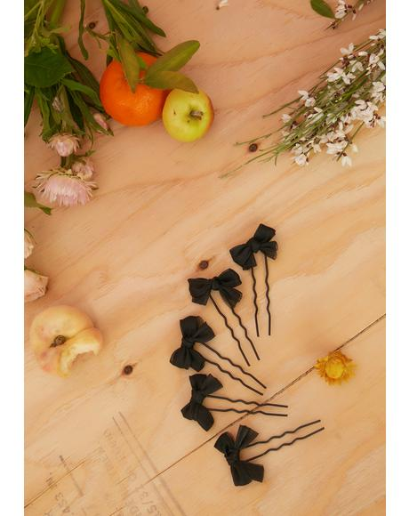 Dark Serenity 5-Piece Bow Hair Pins Set