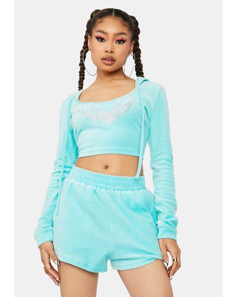 Aqua More Power To You Velour Shorts Set