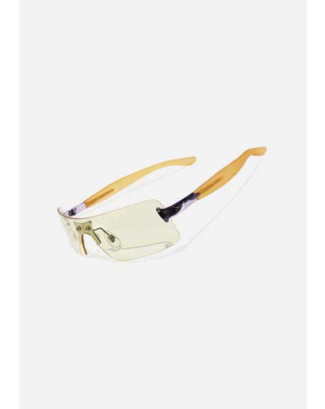 Pale Yellow Shield Sunglasses