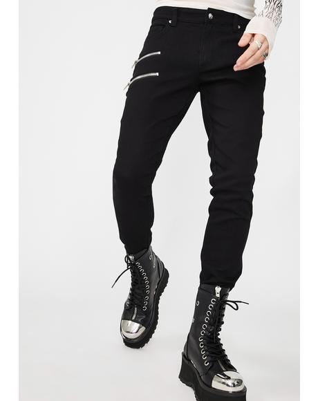 Double Zipper Biker Jeans