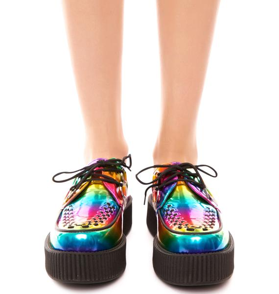 T.U.K. Rainbow Metallic Viva Mondo Creeper