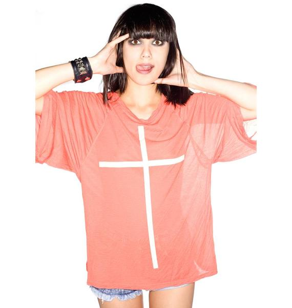 Wildfox Couture Skinny Cross Raglan Tee