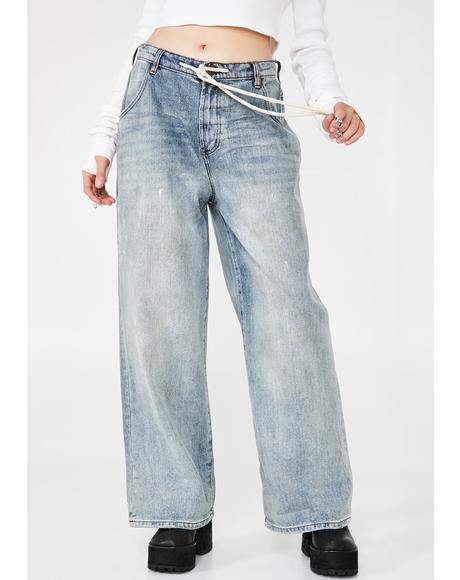 Bad Boys High Waist Wide Leg Blue Jeans