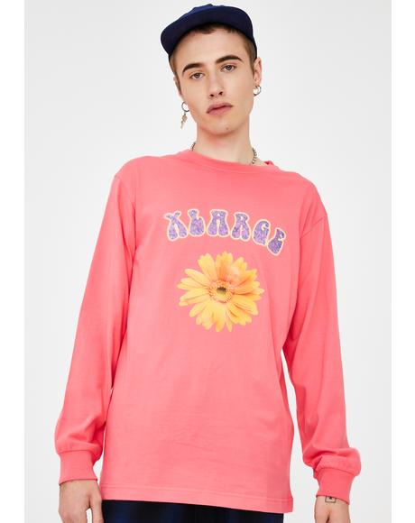 Pink Flower Long Sleeve Graphic Tee