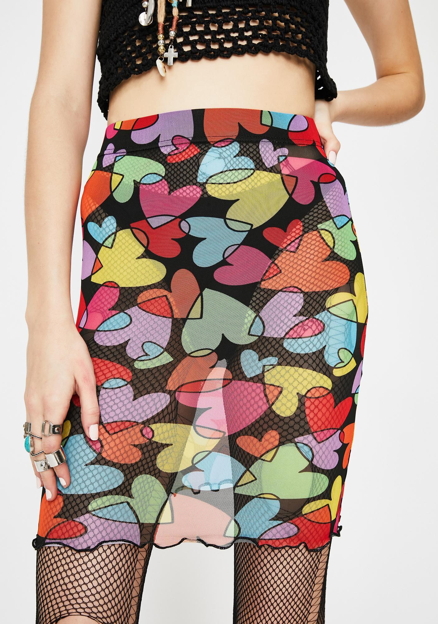 Tara Khorzad Rainbow Hearts Mesh Skirt