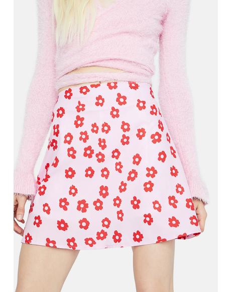 Floral Swirl A Line Mini Skirt