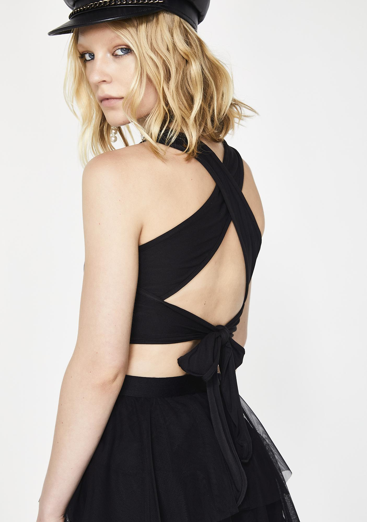 Dark All Tied Up Crop Top