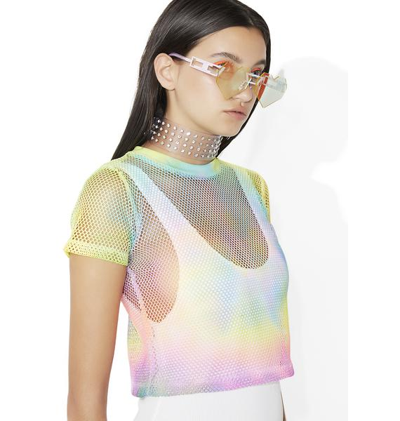 Time 2 Party Rainbow Mesh Crop Top