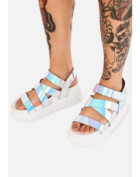 Cosmic In A Flash Platform Sandals
