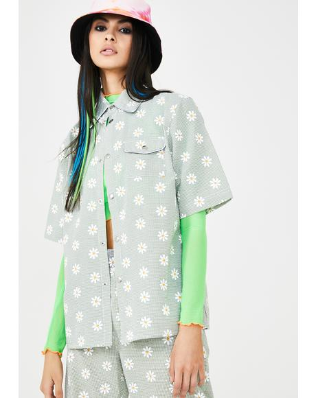 Daisy Print Pocket Shirt