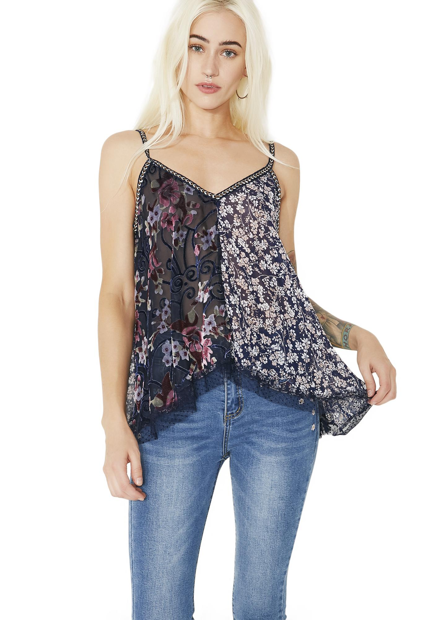 Vines Intertwined Velvet Floral Tank