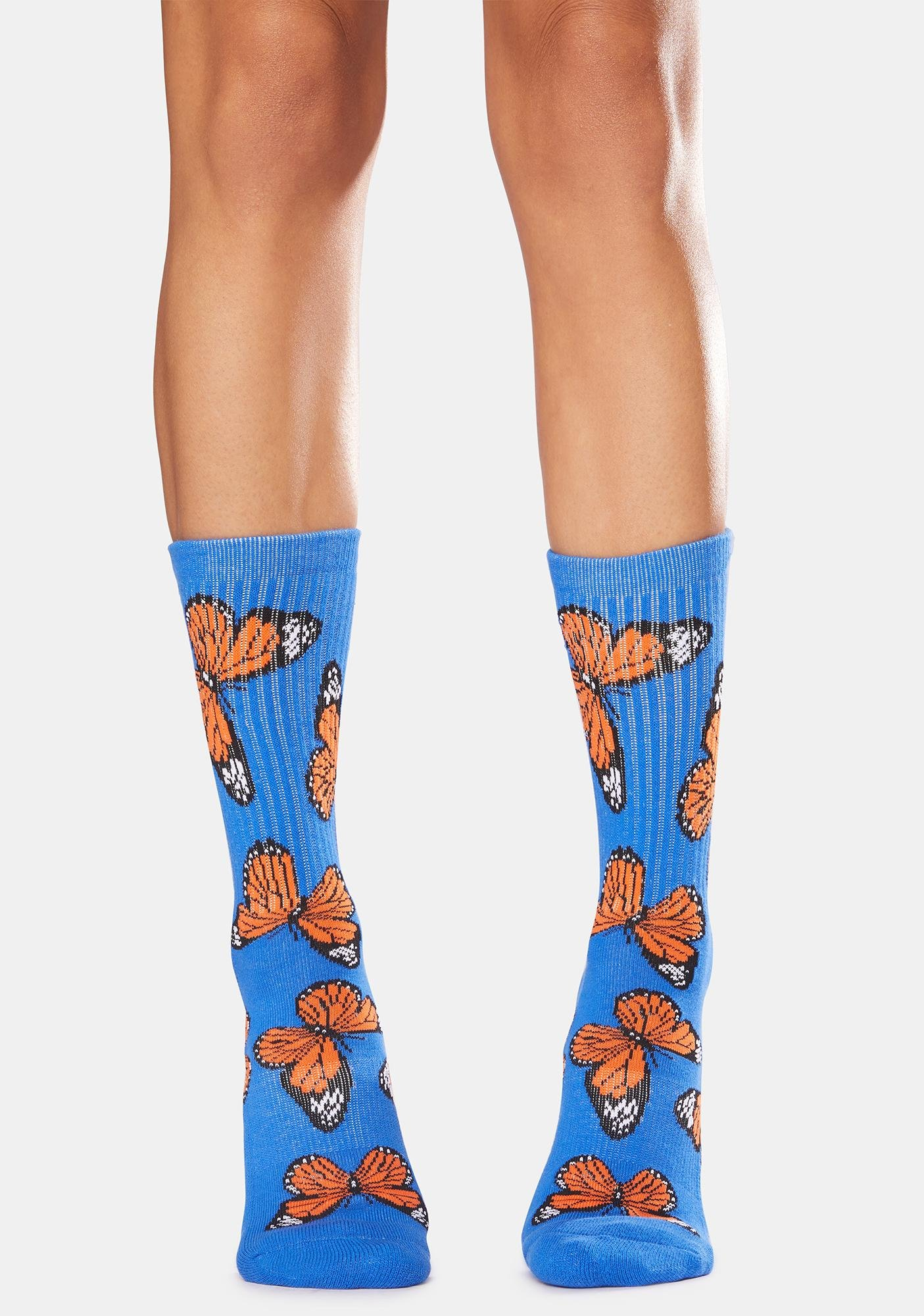 Petals and Peacocks Blue Butterflying Socks