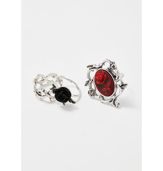 Thorned Rose Ring Set