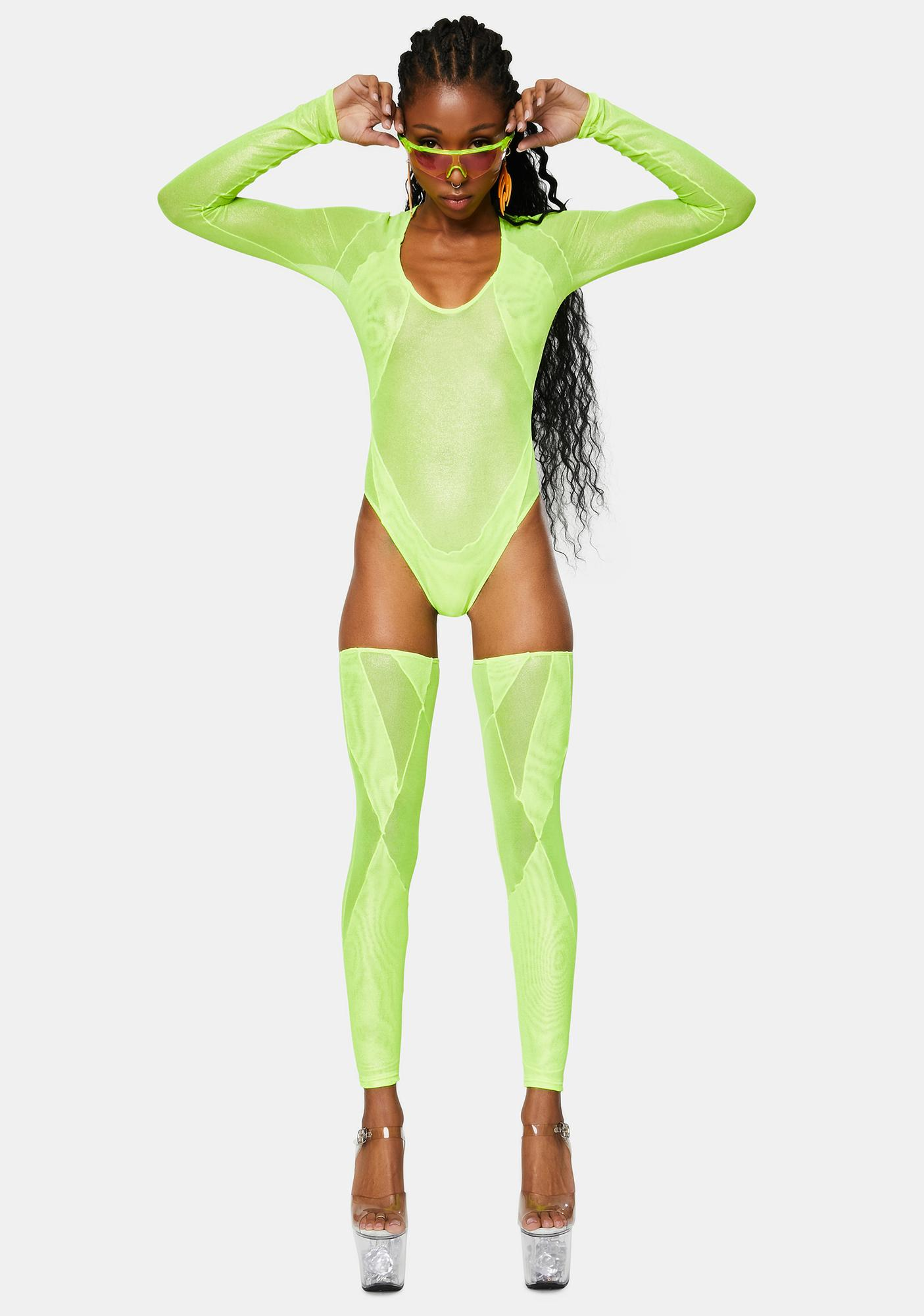 Club Exx Electric Chapel Mesh Bodysuit And Stockings Set